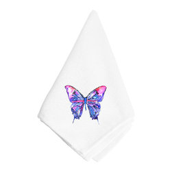 Caroline's Treasures - Pink and Purple Butterfly Napkin 8859NAP - Pink and Purple Butterfly Napkin 8859NAP Dinner Napkin - 100% polyester - wash, dry and lay flat.  No ironing needed.  20 inch by 20 inch