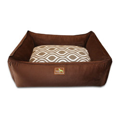 "Luca for Dogs - Medium Chocolate Lounge Bed, Flicker Brown - This beautifully designed bed allows your dog to stretch out and stay ultra cozy. Our signature ""easy-wash"" sheet covers make washing easy and quick. Overstuffed with 100% recycled fiber. Nylon liner protects the inner pillow. 100% washable."