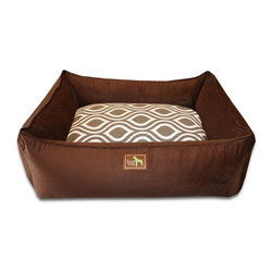 """Luca for Dogs - Medium Chocolate Lounge Bed, Flicker Brown - This beautifully designed bed allows your dog to stretch out and stay ultra cozy. Our signature """"easy-wash"""" sheet covers make washing easy and quick. Overstuffed with 100% recycled fiber. Nylon liner protects the inner pillow. 100% washable."""