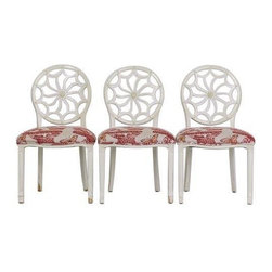 Kellogg Collection Wheel Back Chairs-Set of 3 - Price Reduced! Coastal cottage chic! Inspired by an atmosphere reminiscent of a quiet cottage by the sea.  These chairs will go round and round for generations with their radiating, wheel back design.  The hand-painted antiqued linen finish is weathered to give the appearance of a time-worn heirloom piece. The seats are upholstered, with an elegant, Chinoiserie inspired, urn and butterfly print done in a deep red and ivory. This set of Kellogg Collection chairs will establish a cozy, comforting environment wherever you may be.  These make a beautiful set when grouped with the splat back chairs we have listed separately.