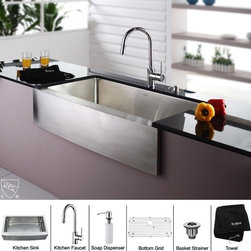 Kraus - 36 in. Farmhouse Single Bowl Sink and Faucet with Soap Dispenser - Add an elegant touch to your kitchen with unique Kraus kitchen combo