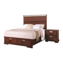 Coaster - Coaster Hyland 4 Piece Bedroom Set - Coaster - Bedroom Sets - 202241X4PKG - Coaster Hyland Two Drawer Nightstand (included quantity: 1) You'll be set with this nightstand at your bedside. The piece carries a beautiful dark cherry finish and features sleek lines as well as brushed metal drawer handles for a beautiful contrasting look. In addition, the two drawers are wonderful for keeping books, magazines, pens, diaries, lotions and alarm clocks. Simple, yet, stunning, this night stand is sure to please.