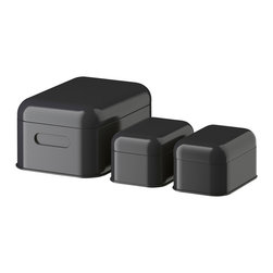 Snika Box With Lid, Dark Gray - I fell in love with these the other day. This inexpensive tin set comes in three colors and is perfect for protecting little goodies from little hands, as they are pretty hard for little kids to open. I could see myself getting this set just to keep my lipsticks safe from my daughter.