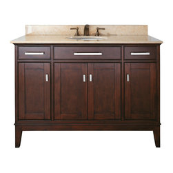 Avanity - Madison 48 in. Vanity Only - For a strong, classic look in your bathroom, look no further than this structured vanity. Crafted from solid poplar, the choice of finishes is yours: Light Espresso or Tobacco. With old bronze and brushed nickel hardware, this refined vanity is an elegant choice for your bathroom decor.