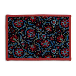 Navy & Red Suzani Tailored Placemat Set - Class up your table's act with a set of Tailored Placemats finished with a contemporary contrast border. So pretty you'll want to leave them out well beyond dinner time! We love it in this eclectic swirling suzani in berry red & aqua on navy blue linen.