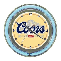 Coors Banquet 14-in. Neon Wall Clock - Any time is the right time for a cold one when you hang the Coors Banquet 14-in. Neon Wall Clock in your basement bar or man cave. Made of molded resin in a cool chrome finish this standard-size wall clock features the classic Coors Banquet logo on a yellow background. A ring of blue neon creates instant chill and it runs on an included 110-volt power supply with AC plug. And don't worry about batteries - one AA is included to power the quartz movement. Wall mount included too.