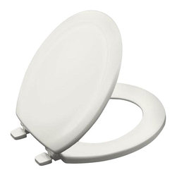 KOHLER - KOHLER Seats Stonewood Round Toilet Seat in White K-4648-0 - This Stonewood toilet seat offers a versatile design that complements many bathroom styles. Compatible with most round-front bowls the compression-molded wood seat provides a substantial look and feel. Color: White.