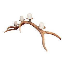 Large Elk Antler Candelabra - Large scale 6 point elk antler candelabra. Holds four candles on metal bases.