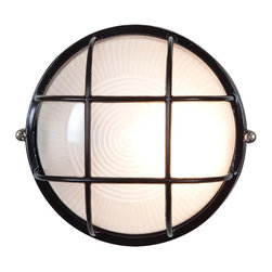 Access - Access Nauticus 1-light Black Wet Location 7-inch Bulkhead - Give your garden or front porch a maritime makeover with some black,wet location lighting. This fixture will provide a welcoming glow to your home from beneath its frosted glass,and its bulkhead design gives it a distinctive look guests will enjoy.