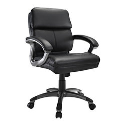 Modway - Modway EEI-719 Stellar Mid Back Office Chair in Black - Mobilize your own constellation of influence with the Stellar Mid Back Office Chair. Plush padded cushions and sleek dual toned curved arms accentuate this chair modeled for leaders imbibed with an entrepreneurial spirit. Stellar also comes with lumbar support, pneumatic height adjustment, a black nylon base, dual wheel carpet casters and a full 360 degree swivel.