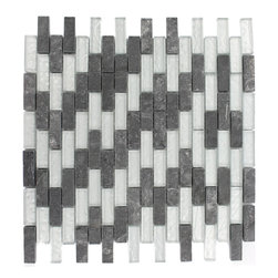 "Geological Brick Black Slate & Silver Glass Tiles - Geological Brick Black Slate + Silver Glass Tiles 1/2 x 2 This striking brick design has a combination of black slate and metallic silver glass. These tiles are mesh mounted and will bring a sleek and contemporary clean design to any room. Chip Size: 1/2"" x 2"" Color: Black and Silver Material: Slate and Glass Finish: Frosted and Polished Sold by the Sheet - each sheet measures 12""x12x (1 sq. ft.) Thickness: 8mm"