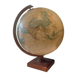 Vintage Globe Light - Vintage globes are the perfect decorative accent - colorful, sculptural, and educational! This fun globe lights up! It would be so fun in a little boy's room or study. The globe has a metal arm and a wood base.