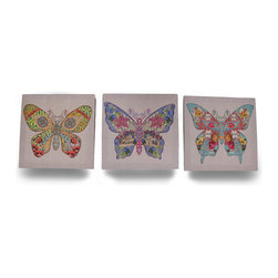 Zeckos - Set of 3 Colorful Floral Butterfly Sentiments Canvas Wall Hangings - Cheer up the bedroom walls, brighten the living room or add a pop of color near the entryway with this set of 3 vivid printed canvas wall hangings featuring floral butterflies with words of thought, such as 'embrace your dreams, and fly', 'soar, believe', and 'love, peace, harmony, hope, joy and faith' on a linen look background. Each 12 inch long, 12 inch wide, 0.75 inch deep (30 X 30 X 2 cm) printed canvas image is stretched over a wood frame with a pre-drilled keyhole slot in the back that makes mounting to the wall easy. Perfect to accent any wall, this set of 3 elegant wall hangings is amazing as a gift any butterfly lover is sure to admire
