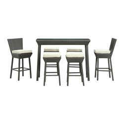 Napa 7-Piece Outdoor Patio Pub Set - Return home to fresh brewed ale and vintage wines with a patio set brimming with piquancy. Create your own ambient caf' as you welcome in ultimate aspirations and momentary encounters. Contemporary rattan stools, powder coated aluminum frames and all-weather white cushions outfit a decor made for thoughtful discussions.