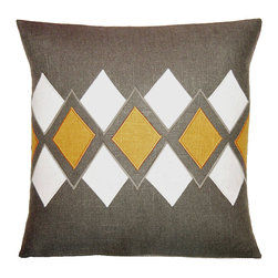 "Square Feathers - Argyle Grey & Yellow Throw Pillow - This preppy throw pillow lends a dose of sophistication through its modern take on argyle. White and yellow diamond geometrics line the gray accent's center for a tailored look. 18""W x 18""H; Hand-sewn embroidery; Hand-cut linen appliques; Zipper closure; Includes 90/10 feather down insert; Dry clean only; Made in the USA"