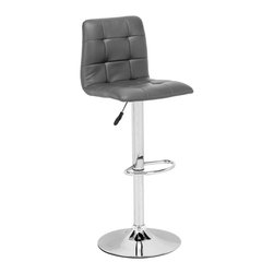 Zuo Modern - Oxygen Barstool Gray - Adjustable with button and tufting, the Oxygen is a breath of life to any bar, kitchen counter, or display stand. It has a chrome base and is fully wrapped in a washable leatherette.