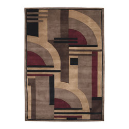 """Nourison - Nourison Dimensions Multi Contemporary Geometric 1'9"""" x 2'9"""" Rug by RugLots - Bold, rich colors and dramatic geometric designs are expertly handmade from 100% wool for Nourison's Dimensions Collection. Make a statement in any setting with one of these visually appealing area rugs with a modern sensibility. Hand carved for added dimension and depth they are sure to enhance the decor and furnishings in any room of your home."""