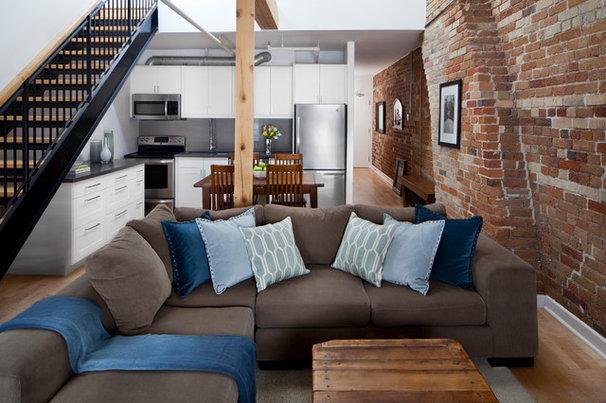 Industrial Living Room by Rad Design Inc