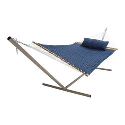 Pawleys Island Blue Large Soft Weave Fabric Hammock - Float away on a sea of comfort with the Pawleys Island Blue Large Soft Weave Fabric Hammock. The perfect place to sip a frosty drink, read a book, or fit in a nap, this hammock guarantees comfort beyond compare. Comprised of solution dyed acrylic fabric, it's so comfortable you may just become a permanent fixture. The solid oak spreader bars have a lovely finish for easy care and durability. This ultra comfy hammock is mildew and fade resistant for beauty that lasts and lasts. Featuring plenty of room for two, it won't be a chore to find someone to share this space. Spruce up your outdoor style with this gorgeous and super comfortable hammock.About Pawleys IslandIn 1889, the Original Pawleys Island Rope Hammock was created at Pawleys Island, one of the oldest summer resorts on the South Carolina coast. When river boat pilot Captain Joshua John Ward found the grass-filled mattresses on his boat too hot in the summer, he decided to make a cool and comfortable cotton rope hammock to use on his boat. After several uncomfortable designs, Cap'n Josh made a hammock using wooden spreaders without knots. This original design has proven to be so comfortable, that it's still used in Pawleys Island's popular hammocks, over a century later.Pawleys Island continues to use the highest quality materials when making their traditional all-cotton rope, spun polyester rope, and DuraCord hammocks. Their custom-designed stretcher bars are cut from seasoned Carolina red oak, then steamed, bent, drilled, sanded, and varnished to impart a comfortable sway to the hammock and to spread the rope evenly for optimum stability.The people of The Original Pawleys Island Rope Hammock are incredibly proud to be anything but new-fangled. Now 120 years old and counting, they continue to offer the very best of their past hoping it will help you better enjoy your future.