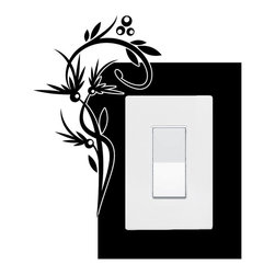 StickONmania - Lightswitch Plants #2 Sticker - A vinyl sticker decal to decorate a lightswitch.  Decorate your home with original vinyl decals made to order in our shop located in the USA. We only use the best equipment and materials to guarantee the everlasting quality of each vinyl sticker. Our original wall art design stickers are easy to apply on most flat surfaces, including slightly textured walls, windows, mirrors, or any smooth surface. Some wall decals may come in multiple pieces due to the size of the design, different sizes of most of our vinyl stickers are available, please message us for a quote. Interior wall decor stickers come with a MATTE finish that is easier to remove from painted surfaces but Exterior stickers for cars,  bathrooms and refrigerators come with a stickier GLOSSY finish that can also be used for exterior purposes. We DO NOT recommend using glossy finish stickers on walls. All of our Vinyl wall decals are removable but not re-positionable, simply peel and stick, no glue or chemicals needed. Our decals always come with instructions and if you order from Houzz we will always add a small thank you gift.