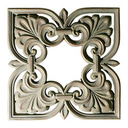 """Factory Direct Wall Decor - Square Pediment Grille - The Square Pediment Grille is a sophisticated stone textured grille. This item can be hung either as a square (as photographed), or as a diamond shaped piece. The dimensions for the total piece are 32""""W x 32""""H x 4"""" in Depth, and approximately weighs 20 lbs."""