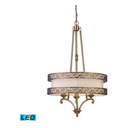 "Elk Lighting - Abington LED 3-Light Chandelier in Antique Brass - The ""pendelier"" combines the attributes of a drum pendant and a chandelier. Abbington was designed with classic details integrated into a transitional drum form, making it suitable for either decor. Two rings of highly detailed filigree surround a cream fabric drum shade creating depth and visual interest. Finished in antique brass. - LED, 800 lumens (2400 lumens total) with full scale dimming range, 60 watt (180 watt total)equivalent, 120V replaceable LED bulb included."
