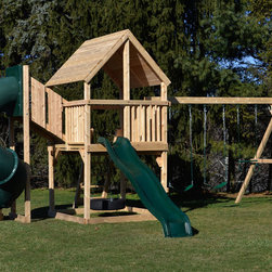 Bailey Deluxe - White cedar swing set with tower and tube slide.