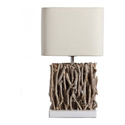 ParrotUncle - Rustic Tea Branch Decorated Table Lamp - This desk lamp has a steady solid wood base, and with branches decorating. It has a random but natural looking, and it is stylish. Large square fabric shade with double open end will spread more lights to your room. Artistic Table Lamp with Binding Branch Base and Square Fabric Shade