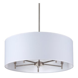 Lights Up! - Walker 5 Arm Chandelier -Drum Shade, Brushed Nickel Base, White Linen - - Wattage: 40