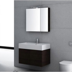 "Iotti - 32 Inch Bathroom Vanity Set - A wide profile and simple lines give this hard working vanity set just what you need for the busiest bathrooms. Available in Glossy White, Wenge and Gray Oak waterproof finishes, this long lasting Italian design has ultra low emissions of harmful pollutants. The generous fitted sink top gives you plenty of space for sundries and a wide basin. The double storage doors have ""soft close"" mechanisms for low noise and long life. The mirrored medicine cabinet comes with two shelves and a vanity light. Set Includes: . Vanity Cabinet (2 doors). Fitted ceramic sink (31.5 inch x 5.7 inch x 18.3 inch ). Medicine cabinet (30.9 inch ). Vanity Light (11.8 inch ). Vanity Set Features:. Vanity cabinet made of engineered wood. Cabinet features waterproof panels. Available in Wenge (as shown), Glossy White, Grey Oak. Cabinet features 2 doors. Faucet not included. Perfect for modern bathrooms. Made and designed in Italy. Includes manufacturer 5 year warranty."