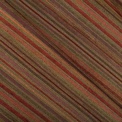 Francisca Striped Upholstery Fabric in Multicolor - Francisca Upholstery Fabric in Multicolor is a striped upholstery that combines muted reds and yellows. It has navy yarns that give the fabric a blue undertone. This dense upholstery fabric is made from a blend of 54% polyester and 46% cotton. The upholstery passes 15,000+ double rubs on the Wyzenbeek Abrasion Test. Cleaning Code: S; UFAC: Class I; passes CA117 Test. Width 54″; repeat 6.75″ V.