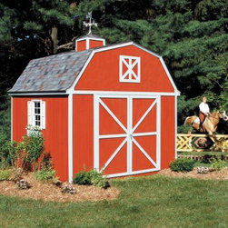 Handy Home Berkley Storage Shed - 10 x 10 ft. - The Handy Home Berkley Storage Shed - 10 x 10 ft. isn't sold with overalls or a pitchfork, but it's a great way to get extra storage and have your own American Gothic backyard experience. The classic barn-style of this all-wood storage shed conceals a spacious interior with 6-foot walls and an 11-foot peak for plenty of storage, both on the ground and overhead. A pre-hung double door with a 64W x 72H-inch opening can be located on any exterior wall of the structure, and you even have the option of including an interior floor if necessary. Each exterior panel is pre-primed and ready for paint, and detailed instructions and hardware are also included.About Handy HomeSince 1978, Handy Home has been making it easy and affordable for their customers to add storage sheds, gazebos and playhouses to their homes. As North America's largest producer of wooden storage and recreational building kits, Handy Home makes durable structures that require no sawing or drilling and can be delivered when and where their customers need them.