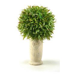 D&W Silks - D&W Silks Wild Grass In Tall Ceramic Vase - Wild Grass Arrangement