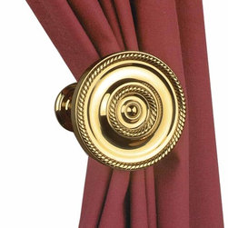 """Renovators Supply - Tie Backs Bright Brass Curtain Tie Back - This round beaded tieback measures 3 1/4"""" in diameter and projects 3 3/4""""."""