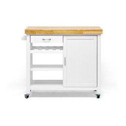 "Wholesale Interiors - Denver White Modern Kitchen Cart with Butcher Block Top - The contemporary home cook cant go without two things in the framework of her kitchen: plentiful storage and appropriate appliances. Our Denver Kitchen Island covers your need for storage and then some! This multifunctional kitchen cabinet is a freestanding island that features four wheels for legs, each with a locking feature so it does??t slip away while you are chopping fresh herbs and veggies. A towel bar, cabinet with concealed shelf, wine rack shelf, and two open shelves provide plentiful space for cookware, non-perishables, and sundries. The frame is made with a blend of engineered wood and rubber wood and is painted white at the base. Topping this is a beautiful solid wood butcher block countertop. This modern kitchen island requires assembly and is made in Malaysia. To clean, wipe with a damp cloth. Product Dimension:41.5""x 17.7""W x 35.8""H. Left side drawer: 14.5""W x 10.5""D X 2.2""H , shelf dimension: 16.7""W x 14""D x (4""-8.5""-8.5"") H from top to bottom, the lower shelf is removable. Right side storage behind door with removable shelf. Upper:16.5""H x 14.5""D x 14.7""W, lower:13""H x 14.5""D x 14.7""W b."
