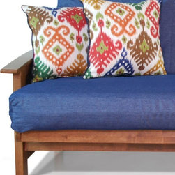 American Furniture Alliance - Woven Full Size Futon Cover with Pillow Pack - Flamestitch Multi Multicolor - 33 - Shop for Mattress Pads and Covers from Hayneedle.com! Your closet is full of options for you so how about you bring home the Woven Full Size Futon Cover with Pillow Pack - Flamestitch Multi and give some options to your furniture as well? This deep blue futon cover is crafted from a durable woven fabric that is nicely offset by the colorful printed pattern on the matching set of plump pillows. The cover is machine washable and designed to fit full or double-sized futons.About American Furniture AllianceLocated in Corona Calif. American Furniture Alliance manufactures a wide range of furniture lines including futon convertibles futon mattresses futon covers and accessories bean bag chairs foam furniture and various accent furniture pieces. Their trademarked lines include Elite Convertibles Bean Bag Factory ModFX Foam Furnishings and the ModernLoft Collection.