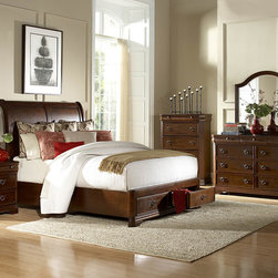 Homelegance - Homelegance Karla 5 Piece Platform Sleigh Bedroom Set in Brown Cherry - The Karla Collection takes the refined features of classic lines and creates a modern update of traditional design. Clipped corners and routed pilasters blend the classic lines of the top and base moldings while the antiqued bronze finish hardware  featuring an elegant garland motif with drop ring pull  further accent each case piece. Book-matched veneer accents the headboard and footboard creating a focal point for the collection. Cherry and birch veneers are accentuated in a luxurious brown cherry finish that further exemplifies the traditional feel of this set. Also offering platform bed with footboard storages.