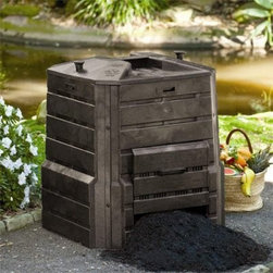 Soilsaver Classic Composter - The SoilSaver is made of 100% recycled durable polyethylene plastic. The bin has two slide-up doors for easy compost removal. The four sides are interchangeable. It's easy to assemble and stir/mix for aerobic decomposition and it has a locking lid. The black color bin absorbs and retains heat enhancing the composting process. 1/4-inch-thick structural foam and black recycled plastic is built to last and hold the heat inside. The SoilSaver offers an optional base sold separate.