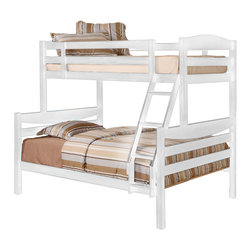 Walker Edison - Twin/Double Solid Wood Bunk Bed - White - Elegance and function combine to give this contemporary wood bunk bed a striking appearance. The design gives a stylish modern look crafted with beautiful solid wood. Designed with safety in mind, the bed includes full length guardrails and a sturdy integrated ladder. Great for any space-saving design needs. Unlike other bunk beds, this bed easily converts into 2 beds.