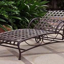 International Caravan - Single Patio Chaise Lounge - All weather resistant coating. Four multi-positions. Equipped with wheels for easy transportation. UV light fading protection. Made from pure premium wrought iron. Double powder-coated matte brown finish. Assembly required. 23 in. W x 27 in. H x 24.5 in. H (36 lbs.)