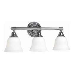 World Imports - Ava Bath 3 Light Bath Fixture w Glass Shade i - Manufacturer SKU: WI 343308. Bulbs not included. Mount as shown or inverted. Ava Bath Collection. 3 Lights. Power: 100W. Type of bulb: Medium (Regular). Chrome finish. 6.625 in. Ext.. 21 in. W x 9.5 in. H (8 lbs.)