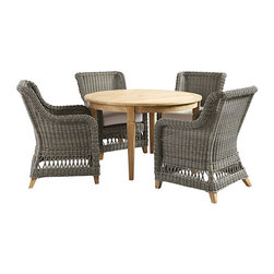 "Ballard Designs - Laurel 5-Piece Round Dining Set - 48"" Round Table, 4 Dining Side Chairs. Coordinates with Laurel Outdoor Collections and Classic Teak Collections. Includes washable off-white box cushions. Cushions are extra thick for long lasting comfort with tailored top stitching on all seams. All cushions attach to ""D"" rings for snug fit that stays in place. The Laurel Outdoor Collection has a classic look that reminds us of warm summer days from long ago. Each piece starts with a sturdy, rust-resistant aluminum frame and then hand woven of durable, all-weather wicker to resist fading and damaging moisture. Off-white box cushion and natural teak feet add the perfect finishing touches. Laurel Dining Set features:. . . .  . Weathered gray finish. Natural teak feet. Use of an outdoor furniture cover is recommended to extend the life of your piece."