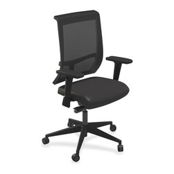 Mayline - Mayline Commute Series Mesh Back Task Chair - Vinyl Black Seat - 25 x 23 x 45 - Part of Commute Task Seating, this mesh-back chair is perfect in any setting, comfortable for any body and simple to use. Versatile task seating offers synchro-tilt seat mechanism, seat glide, tilt tension and tilt lock. With the seat glide, the seat cushion travels forward and back and then locks into position. Other functions include pneumatic seat-height adjustment and 360-degree swivel. T-arms adjust in height for customized arm rests. Weight capacity is 250 lb. Mesh back chair also features a fabric-upholstered seat, Class 4 chair cylinder and five-star base with casters for stability and easy mobility. Chair meets or exceeds ANSI/BIFMA standards.