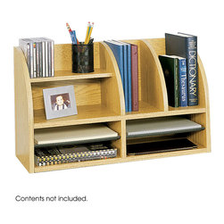 """Safco - Radius Front Eight Compartment Desktop - Oak - The curved frame, refined lines and finish of the Radius-Edge Veneer Front Desktop Organizer will awaken your space. This affordable organizer allows convenient access to stored materials. Adjustable hardboard shelves include black plastic molding that serves as a labeling system. Top shelves form two horizontal and two vertical compartments. Two adjustable shelves form up to four letter size compartments.; Features: Material: Compressed Wood; Color: Oak; Finished Product Weight: 20 lbs.; Assembly Required: Yes; Tools Required: Yes; Limited Lifetime Warranty; Dimensions: 26""""W x 9 3/4""""D x 15 1/2""""H"""