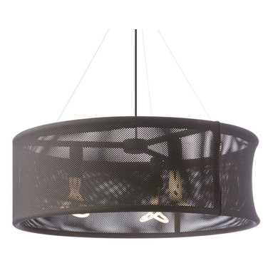 Moire Pendant by Tech Lighting - The Moire Pendant features an oversized modern drum shade with two layers of synthetic fiber creating a moire pattern giving it visual interest and depth.  Available in Grey, Black and White with matching fabric cord and painted ceiling canopy.  Includes three 60 watt 120 volt or equivalent medium base G40 base lamps or three 11 watt 120 volt medium base self ballasted compact fluorescent lamps.  Fixture provided with 21 feet of field cuttable cloth cord and 12 feet of aircraft cable.  30.82 inch diameter x 10.84 inch high shade.  ETL listed.