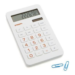 Poppin® White Calculator - Start counting the ways this fresh white solar calculator elevates the standard to a higher level. The clean, monochromatic look features velvety soft keys accented with vibrant orange numerals and an easy-read digital display. We've partnered with the modern design mavens at Poppin for our curated collection of desk accessories—each a testament to their mission of creating beautiful everyday objects that blend work and life.