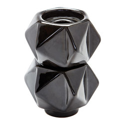 Lazy Susan - Small Ceramic Star Candle Holders, Black Set Of 2 - Handcrafted In Earthenware And Finished In A Metallic Glaze These Geometric Forms Are Based On Origami. Origami Is Now Considered A Modern Art Form After Being Popularized Outside Of Japan In The Mid-90'S.