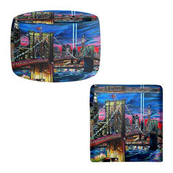 DiaNoche Designs - Ottoman Foot Stool - Manhatten Kinda Night - Lightweight, artistic, bean bag style Ottomans. You now have a unique place to rest your legs or tush after a long day, on this firm, artistic furtniture!  Artist print on all sides. Dye Sublimation printing adheres the ink to the material for long life and durability.  Machine Washable on cold.  Product may vary slightly from image.
