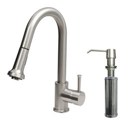Vigo Industries - Kitchen Faucet with Soap Dispenser - Includes spray face, all mounting hardware and hot/cold waterlines