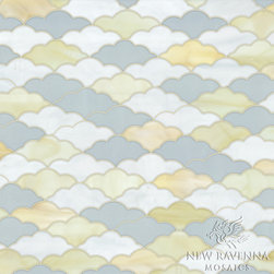 Clouds Jewel Glass Mosaic - Clouds, a waterjet glass mosaic shown in Opal, Agate and Moonstone, is part of the Erin Adams Collection for New Ravenna Mosaics.